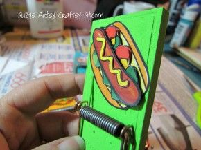 Magnetic Mousetrap Clips Tutorial | Suzy's Artsy Craftsy Sitcom   I think I may just have to do this and put them somewhere near my craft area to hold inspirational items or cards I have received...