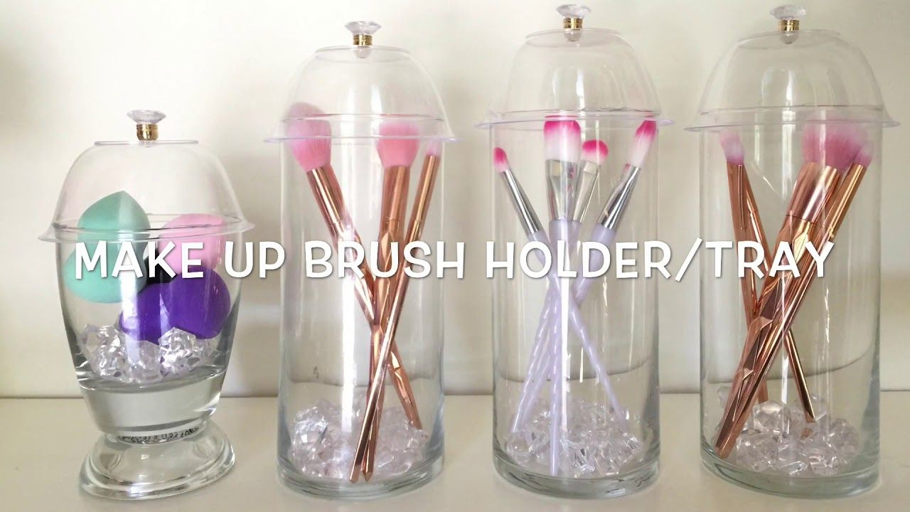 Dollar Tree Diy Make Up Brush Holder Glam Vanity Tray Makeup