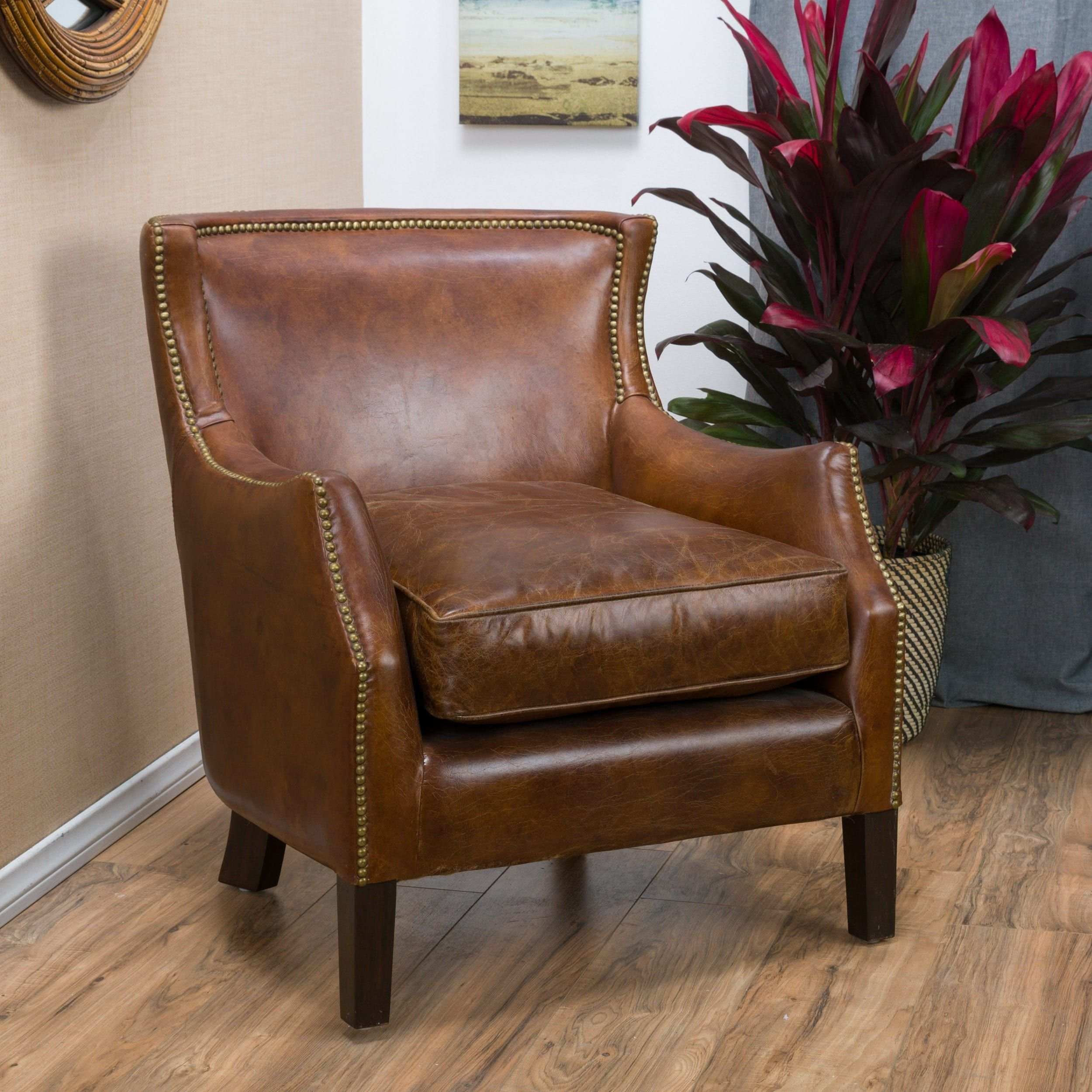 Tillo Top Grain Vintage Brown Leather Club Chair By Christopher Knight Home  | Overstock.com
