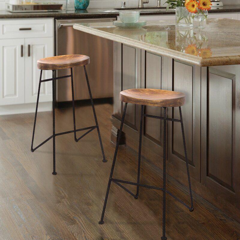 Travon Solid Wood 28 Bar Stool In 2020 Saddle Seat Bar Stool Bar Stools Modern Kitchen Furniture