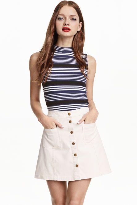 8b8d8f1fc Falda de corte evasé | Costura | Skirts, Button front skirt, Fashion