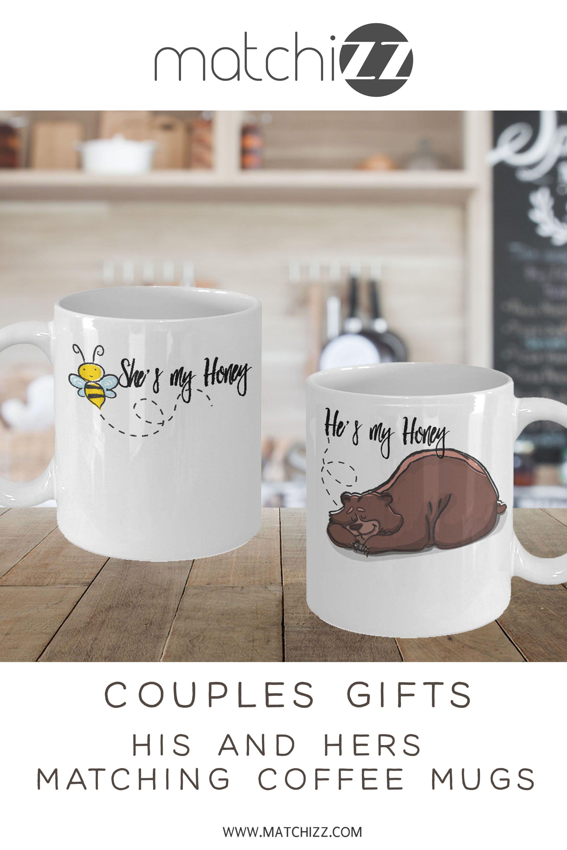 Couple Matching Mugs Honey Bee And Bear Funny Gift Mugs Couple Gifts Gifts