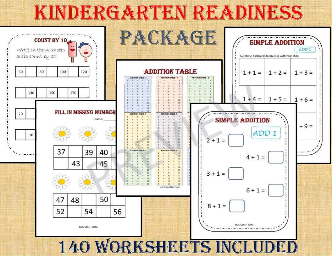 Kindergarten Workbook Package 140 Worksheets Instant