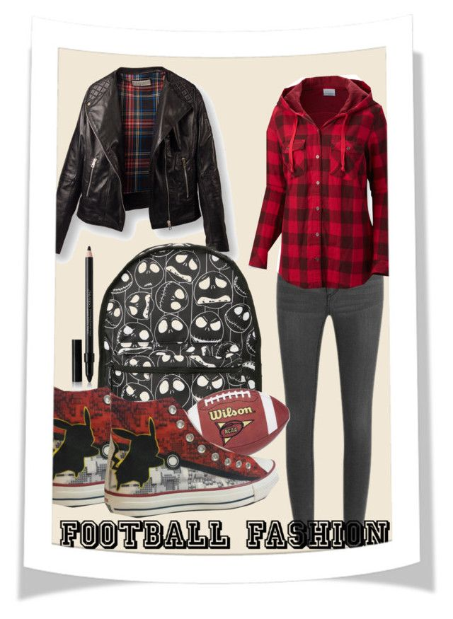 """Game On! Fun Football Fashion"" by kellycassie ❤ liked on Polyvore featuring Cheap Monday, Columbia, Converse, Shiseido, footballfashion, FootballFall, FootballTime and FootballSesion"