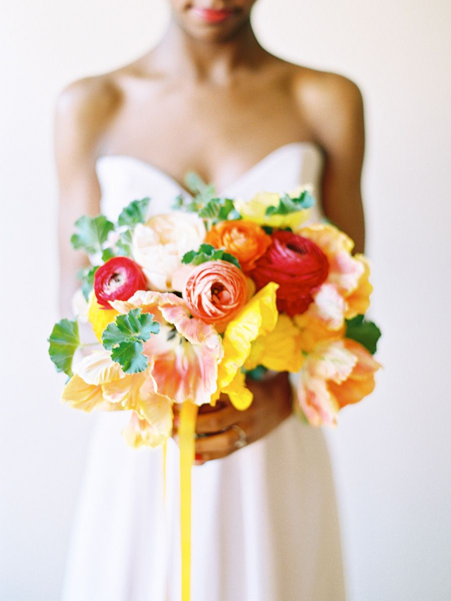 Coral And Yellow Bouquet Red Tulips Ranunculus And Yellow Bouquets
