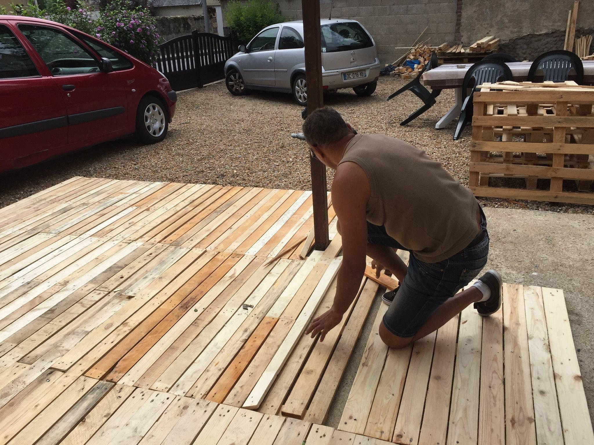 Étonnant réalisation du plancher en bois de palettes   Palette bois SB-99