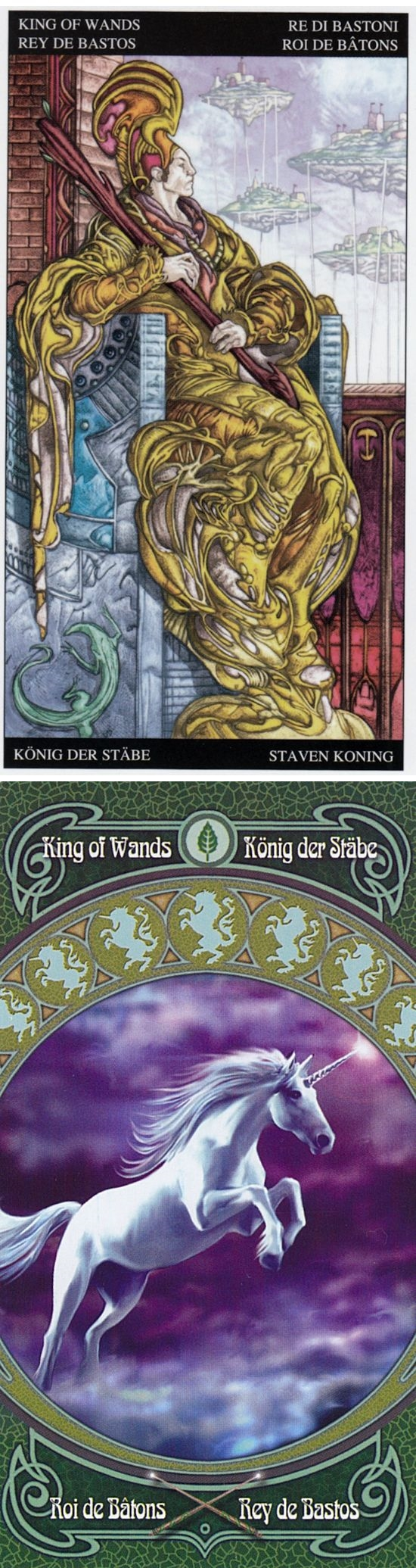 King of Wands: driven and overbearing (reverse). Universal Fantasy Tarot deck and Ann Stokes Tarot deck: best online tarot reading, tarot card set and tarot free readings. Best 2017 tarot decks cards and pagan tattoo. #androidgame #lovers #halloweenparty #justice #unicorn