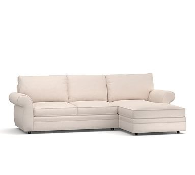 pottery barn chaise sofa sectional istikbal max sleeper pearce roll arm upholstered right 2 piece with potterybarn