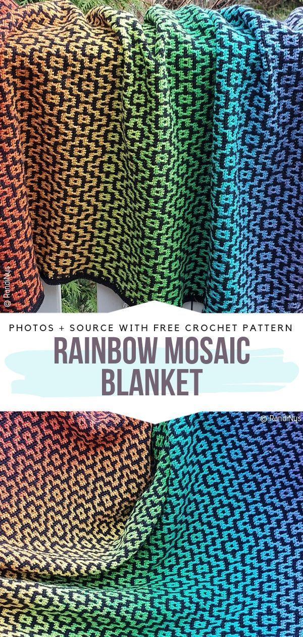 Mosaic Pattern Blankets Free Crochet Patterns