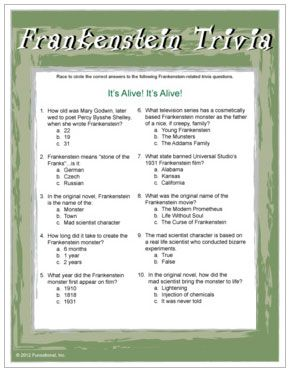 frankenstein trivia game based on movies and the original novel by mary shelley halloween - Halloween Trivia With Answers