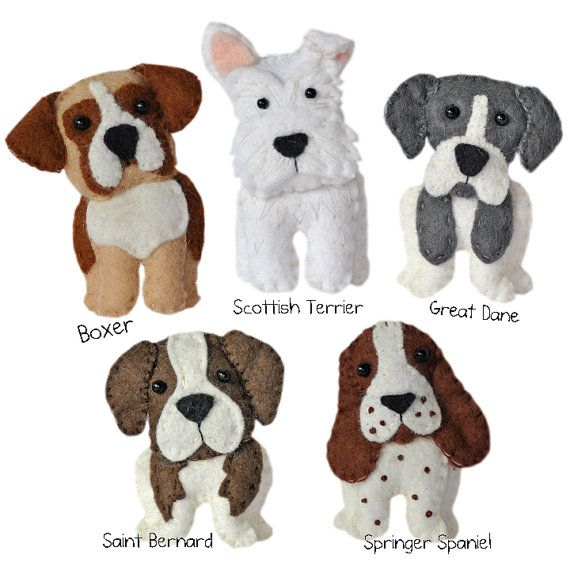 Cute plush Dogs sewing pattern set Two, instant download, felt dog ...