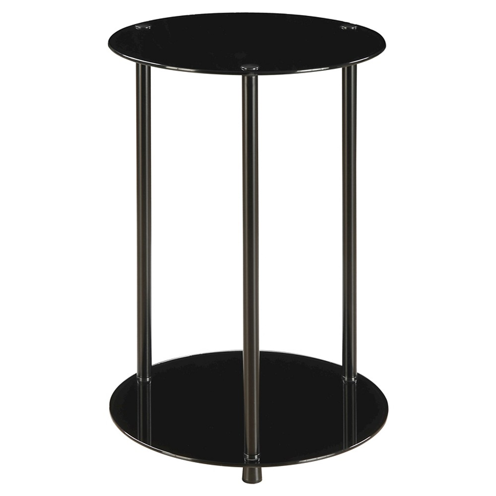 Classic Glass 2 Tier Round End Table Black Johar Furniture Glass End Tables Glass Shelves Black Glass