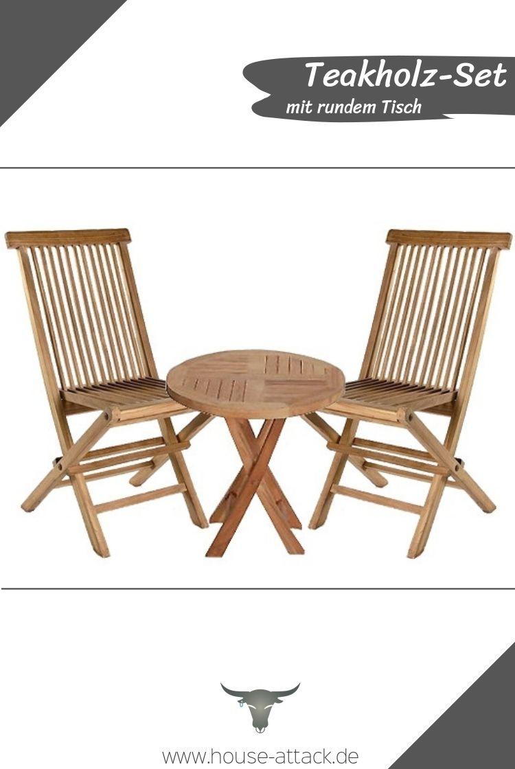 3 Teiliges Teakholz Set Bestehend Aus Zwei Stuhlen Und Rundem