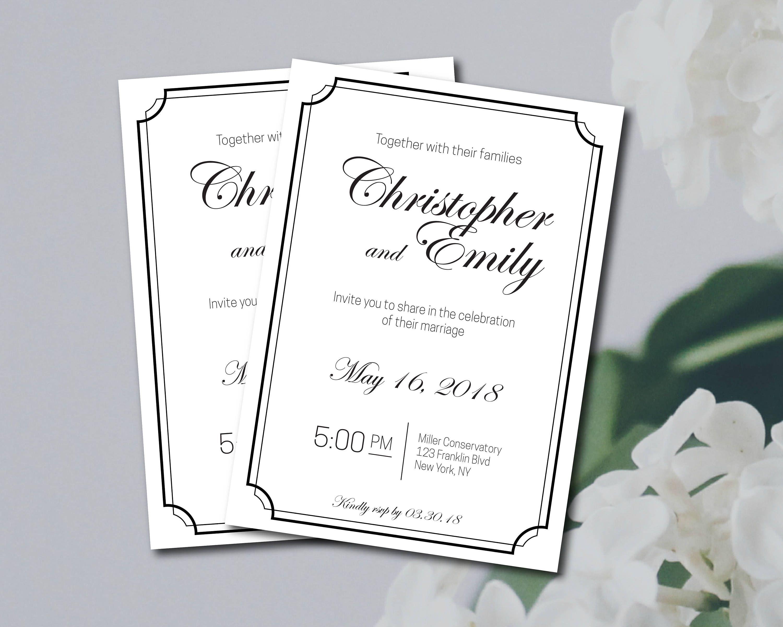 Black and White Elegant Wedding Invitation Template, Wedding ...