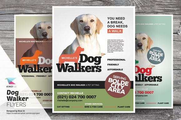 dog walker flyer template by kinzi21 on creative market
