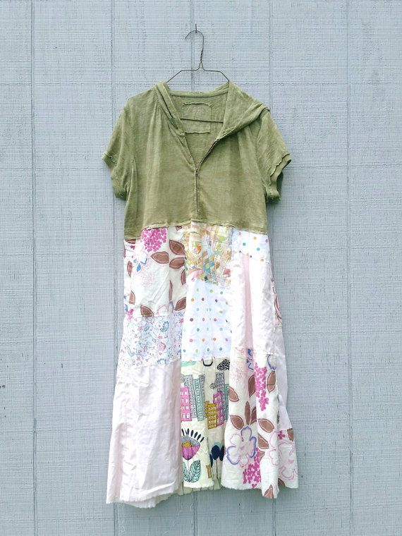 funky hoodie army green off white floral cotton tunic by CreoleSha