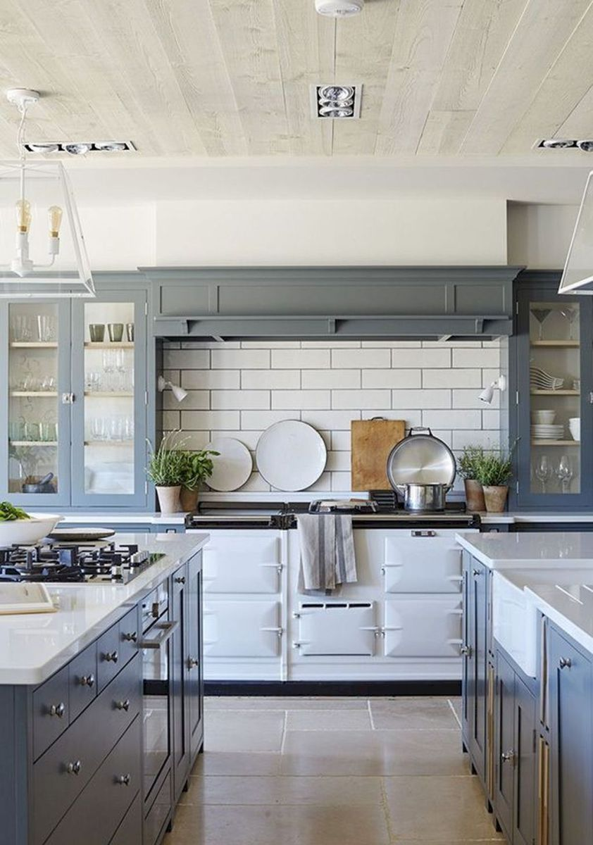 01 Simple Design for Farmhouse Gray Kitchen Cabinets Ideas ...