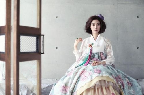 Love this pastel and lace take on hanbok.