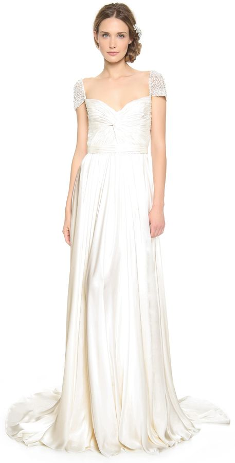 Reem Acra Twist Front Gown With Jeweled Sleeves Beaded Shoulders