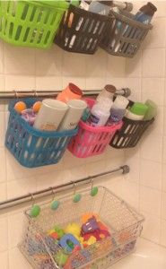 The Awesome Web Finally organized all kids bathroom stuff Tension rods with dollar store baskets I um so happy to have nothing in the bathtub