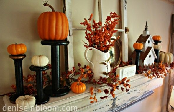 Fall Mantel Decorations Small pumpkins, Fireplace mantles and Mantle