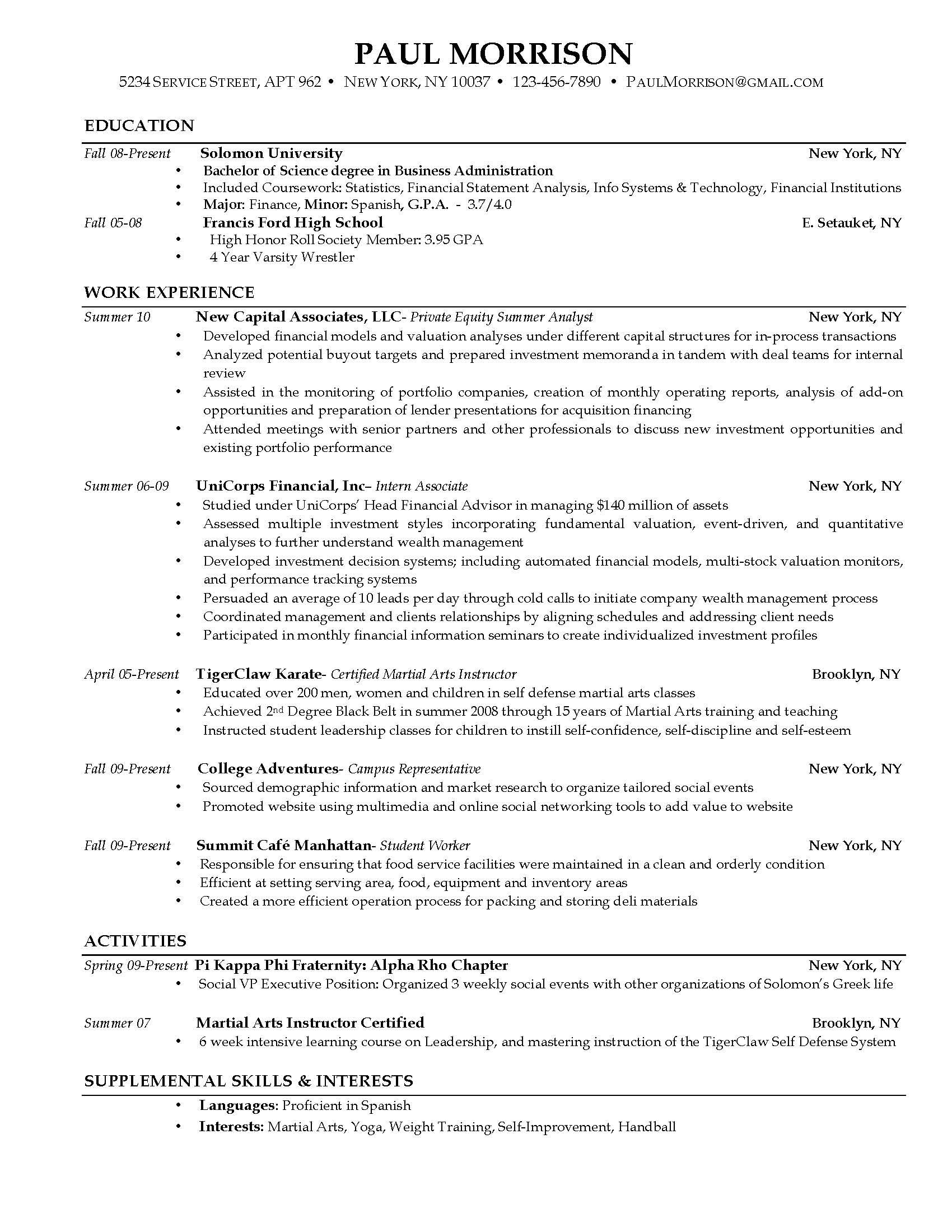 here example resume current college student sample job