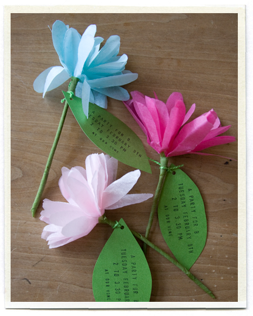 Tissue paper flowers She used them as a birthday party invitation – Party Invitation Paper