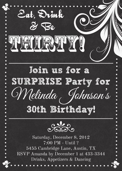 Chalkboard Look Adult Birthday Party Invitation