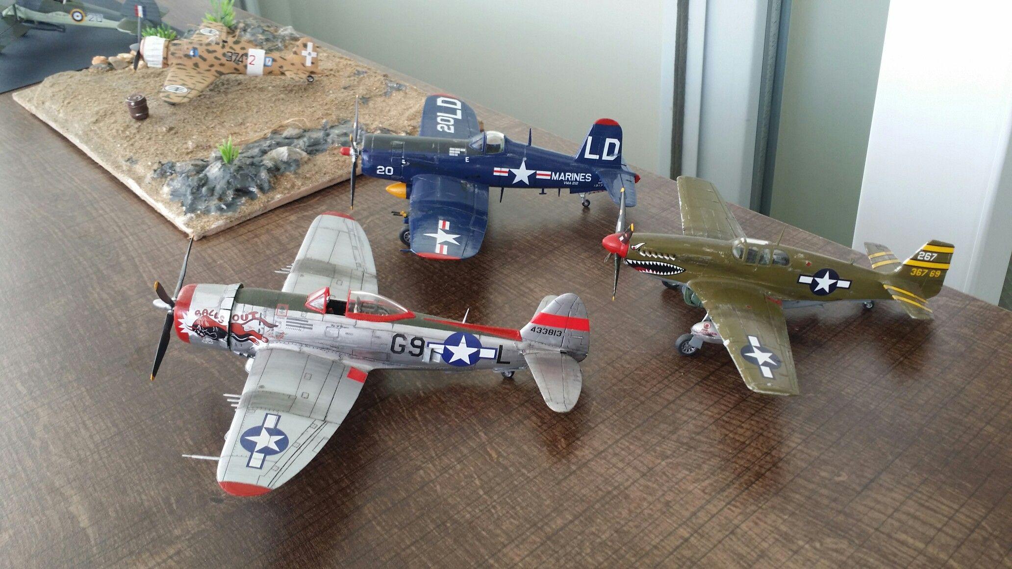 Revell 1 72 P47 Thunder Bolt P51b Mustang And F4u 5 Corsair