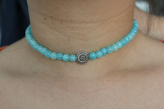 Turquoise Or Aqua Beaded Flower Mandala Choker by StoriesOnceTold