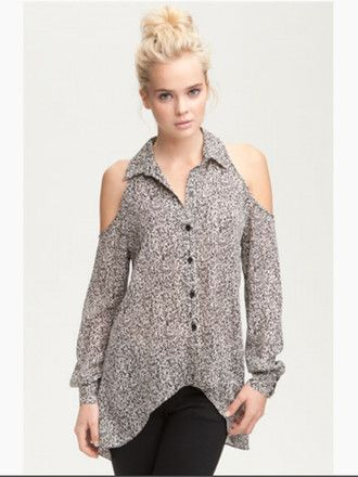 ad78b82f714ed blouse shirt top collar button up blouse shoulderless shoulder cutout high  low blouse long sleeves