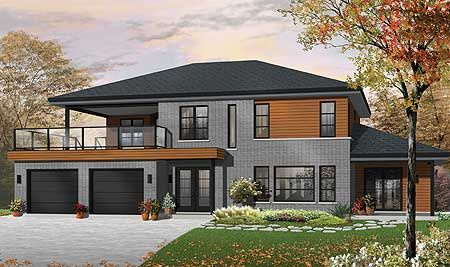 Plan 22326dr Contemporary Bi Generational House Plan Contemporary House Plans Drummond House Plans Contemporary House