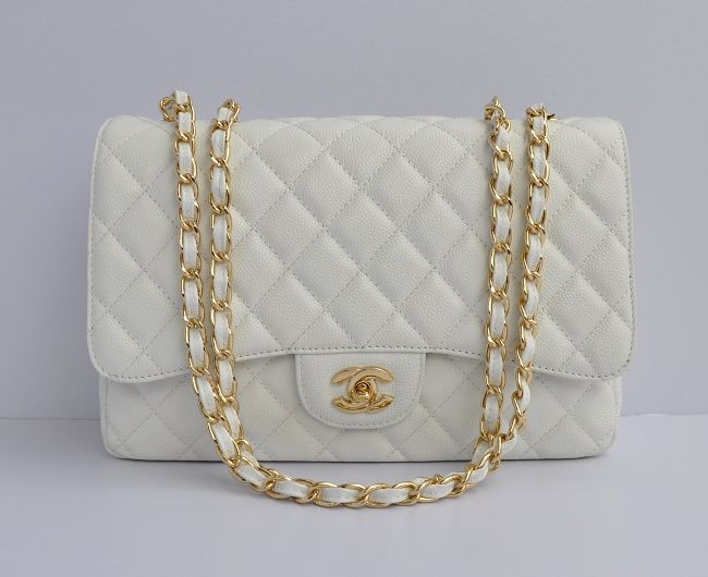 Chanel classic flap jumbo - in white and gold  f87cc4173a285