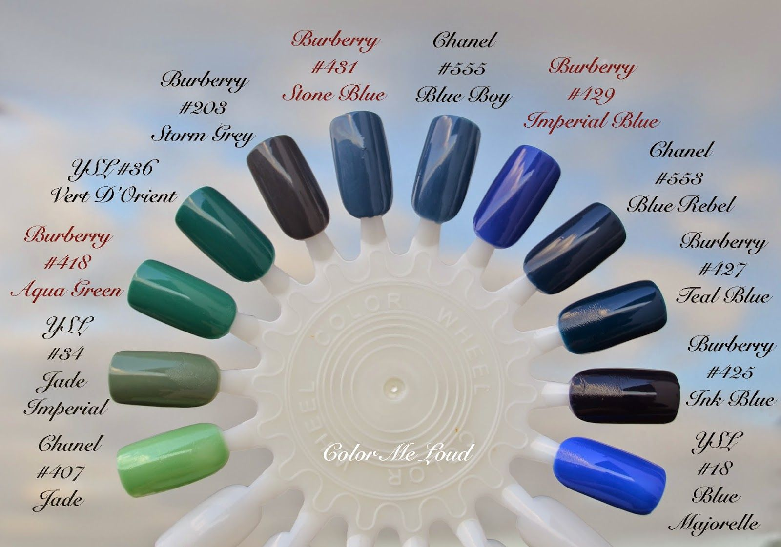 Comparison Swatch Burberry Nail Polish 418 Aqua Green 431 Stone Blue And