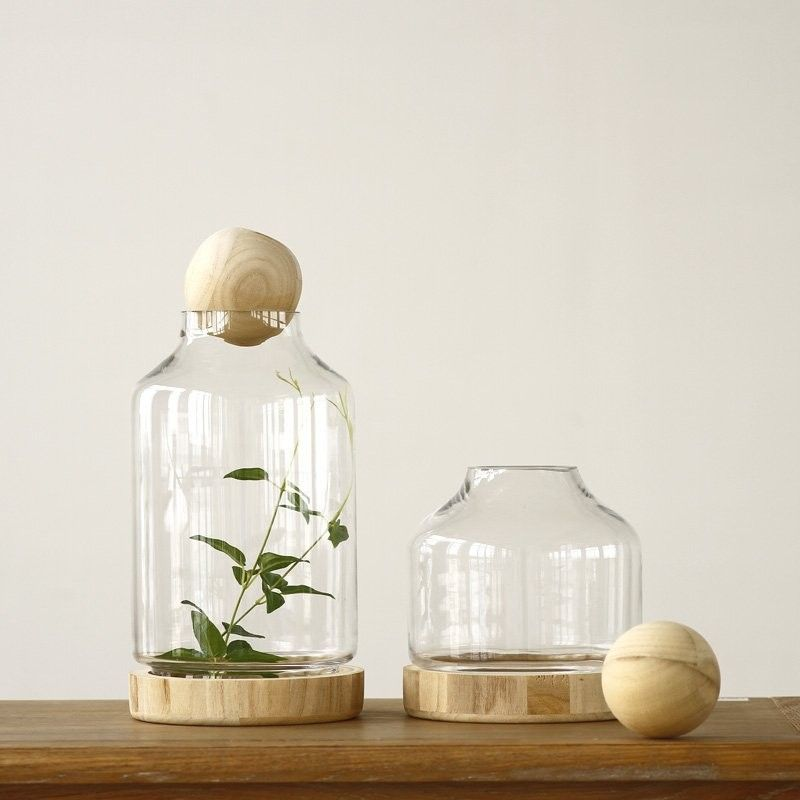 40inch Unfinished Round Wood Ball Lids For Glass VaseDecorative Stunning Decorative Glass Jars With Lids Wholesale