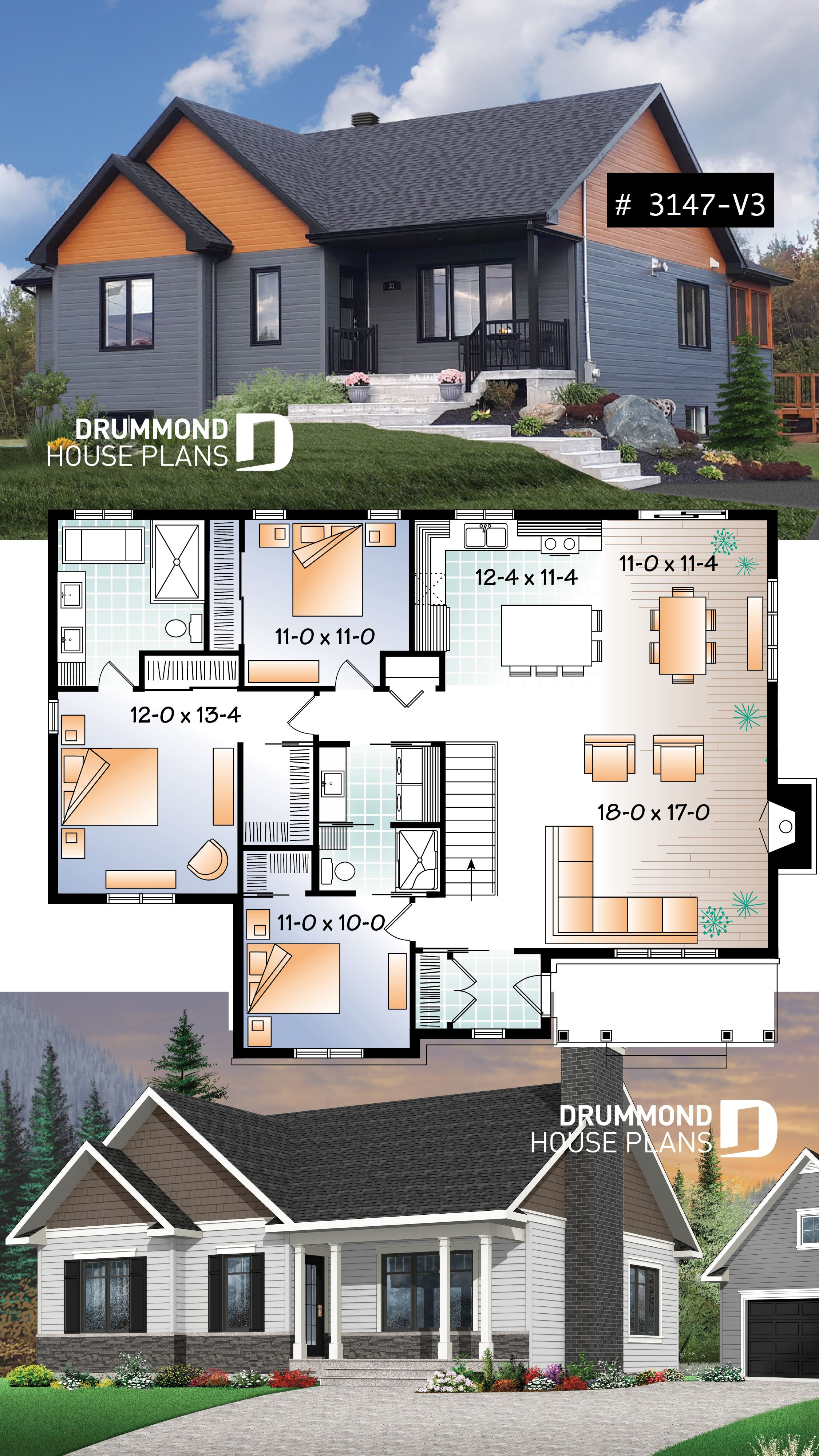 Transitional bungalow house plan with open floor plan large