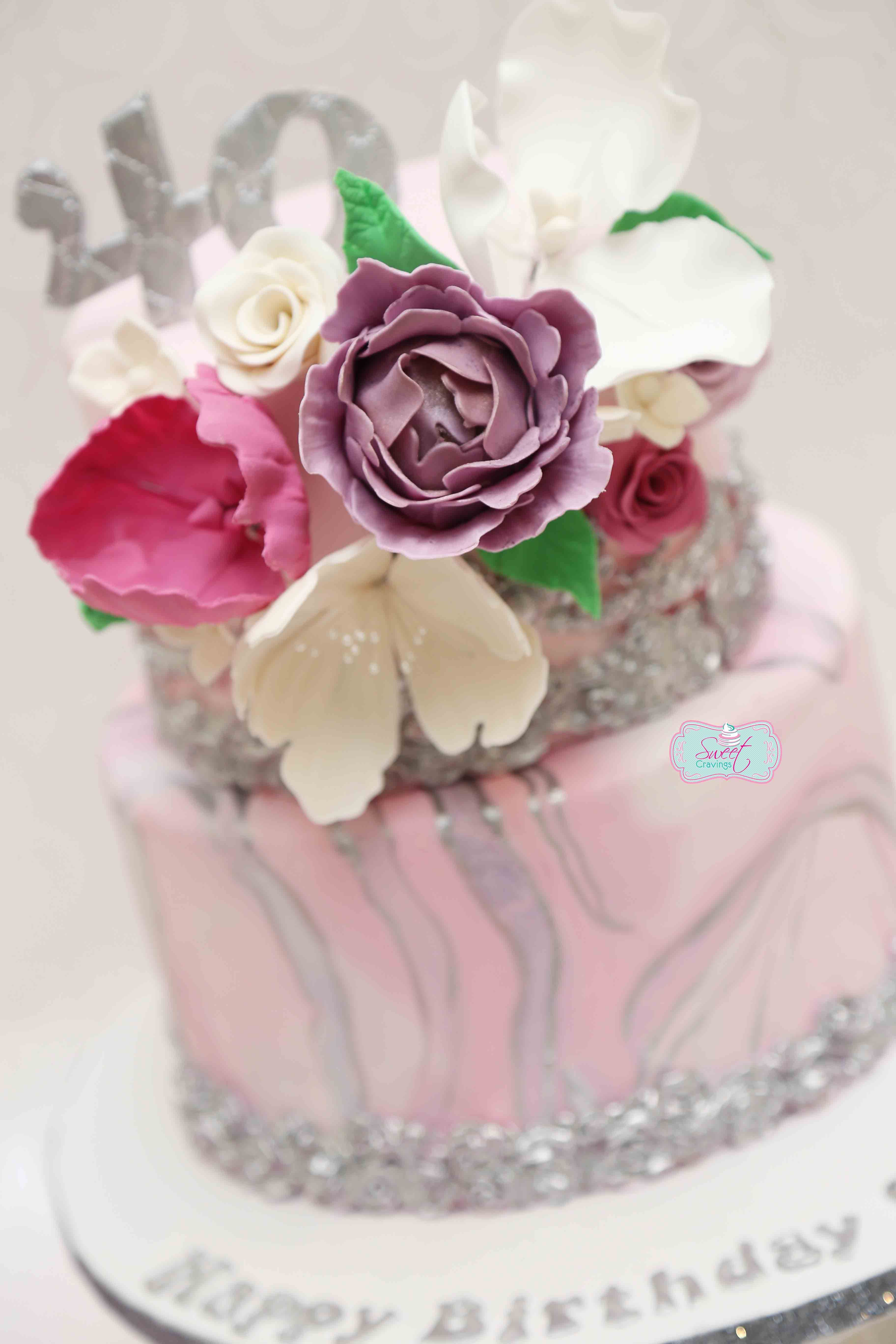 Stupendous 40Th Birthday Pink And Silver Marbled Cake Cake How To Make Cake Funny Birthday Cards Online Amentibdeldamsfinfo