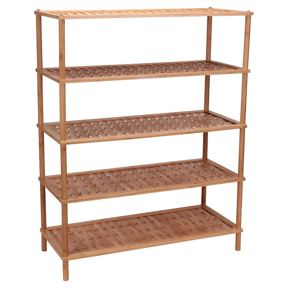 Household essentials tier shoe rack bamboo light brown bamboo