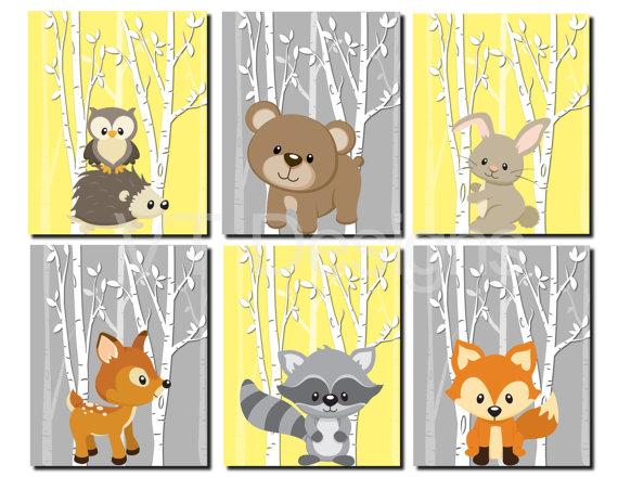 Woodland Nursery Art, Forest Animals Wall Art, Kids Wall Art, Yellow ...