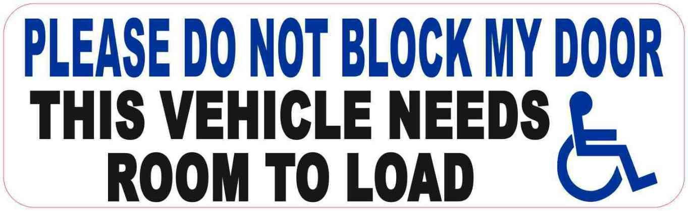10in X 3in Handicap Do Not Block Door Magnet Stickertalk Vinyl Sticker Vinyl Handicap