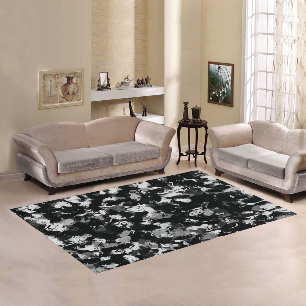 Shades of Gray  and Black Oils #1979 Area Rug