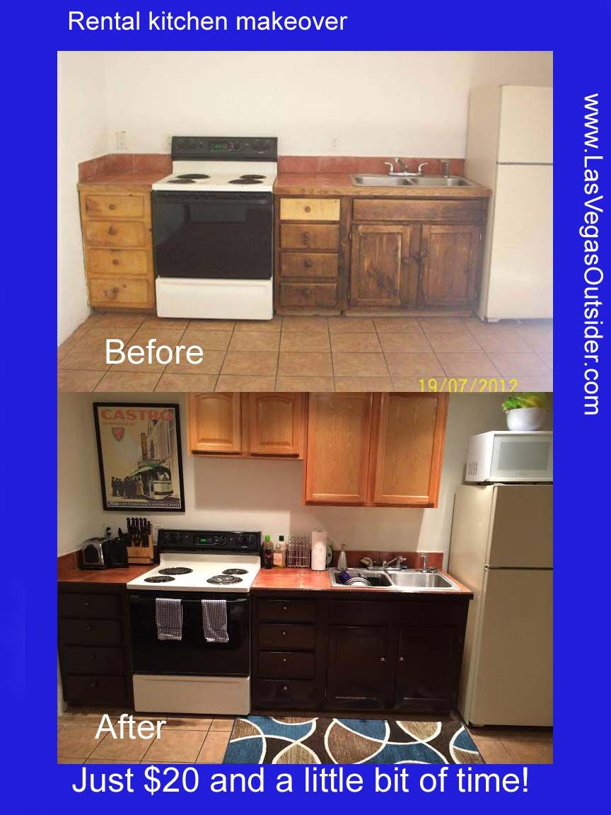 Easy And Cheap Rental Kitchen Makeover Lower Cabinets Repainted With A Rustoleum Paint And Count Rental Kitchen Rental Kitchen Makeover Cheap Kitchen Cabinets