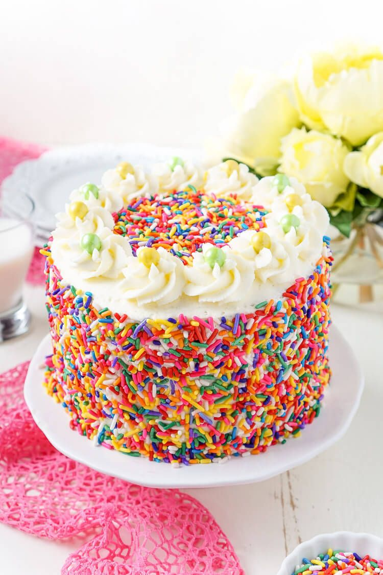 This Funfetti Birthday Cake Is Made With A Fluffy White Cake Loaded