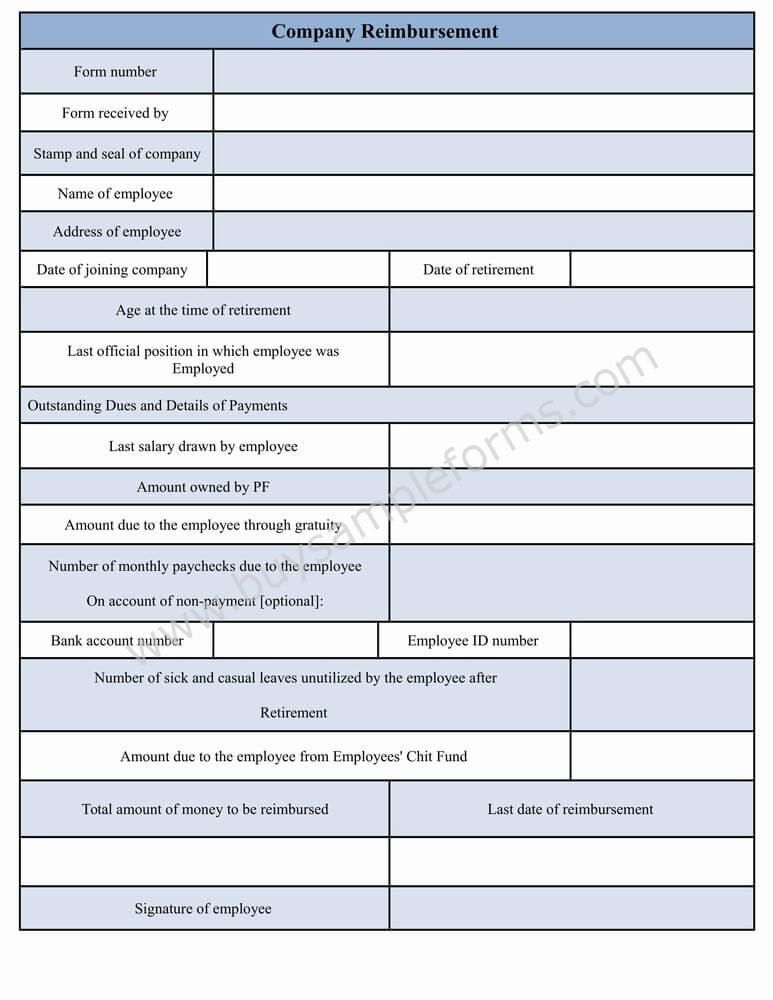 A company reimbursement form represents the details of dues need - form templates word