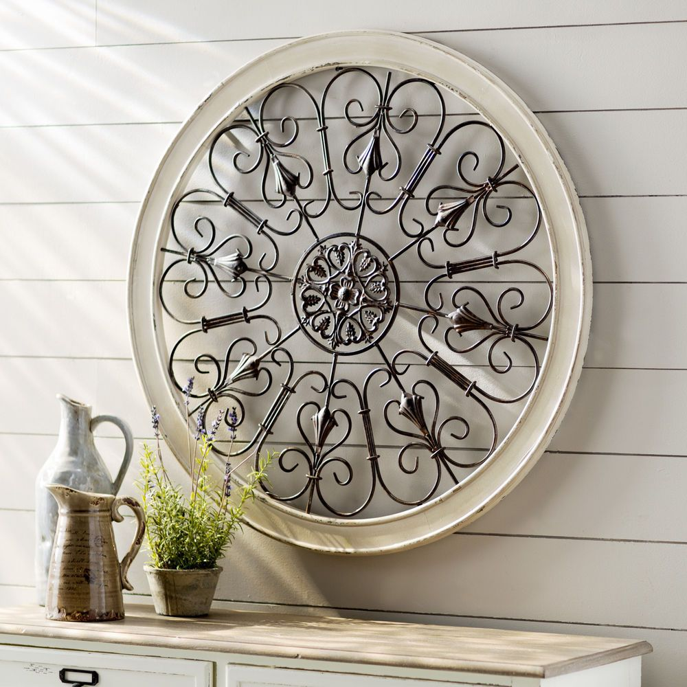 White Iron Wall Decor White Round Wrought Iron Wall Decor Rustic Scroll Antique Vintage