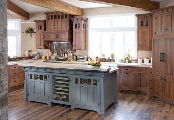 küche mit kochinsel in blau schöne landhausküche | interieurdesign ... - Landhauskchen Mediterran