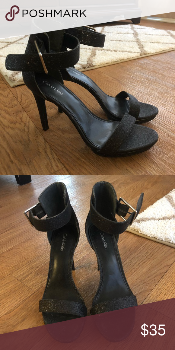 346dccc11df Calvin Klein black sparkly heels Great condition! Only wore for NYE. Calvin  Klein Shoes Heels