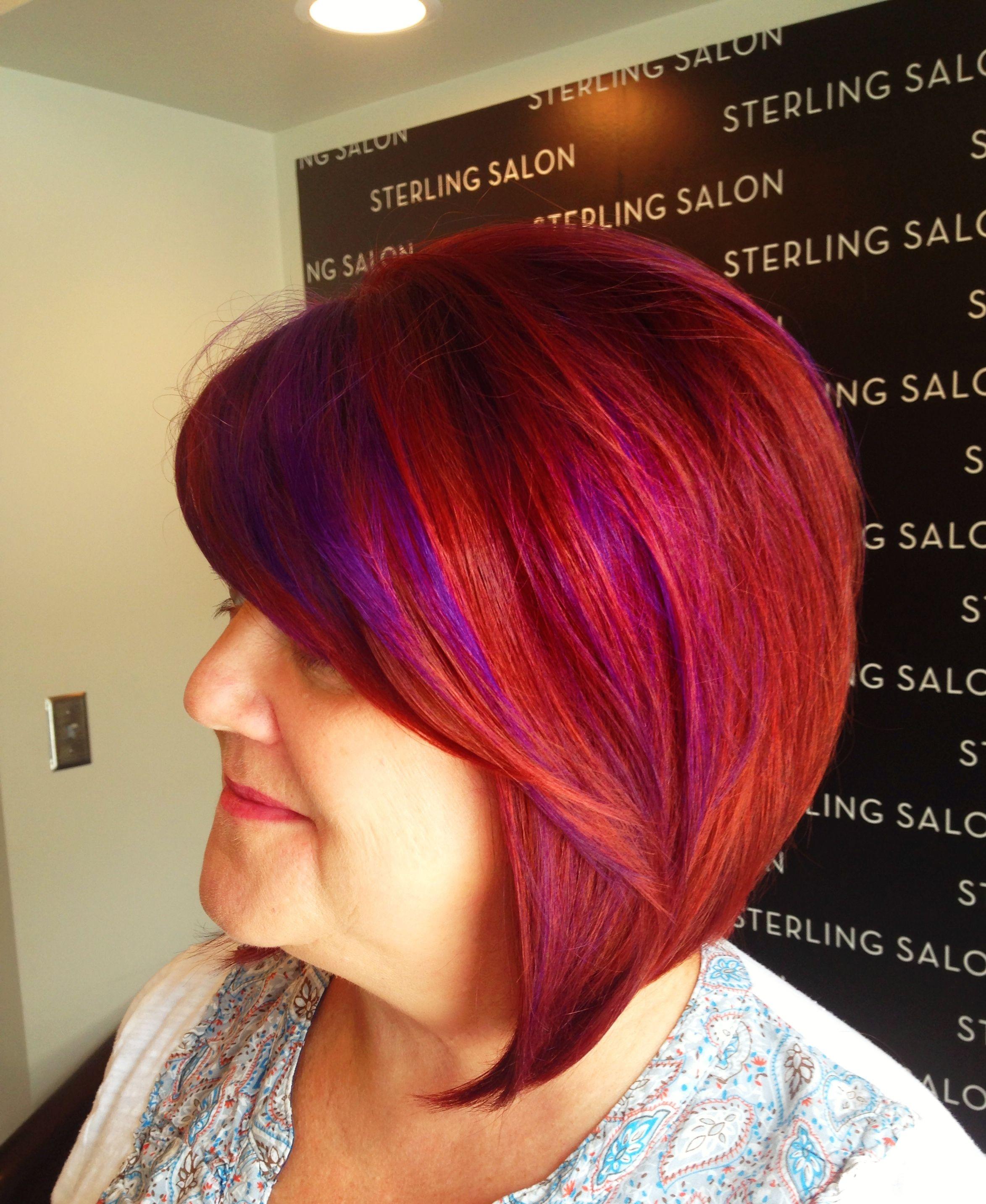 Red copper bob with purple lowlights womenus short hair my
