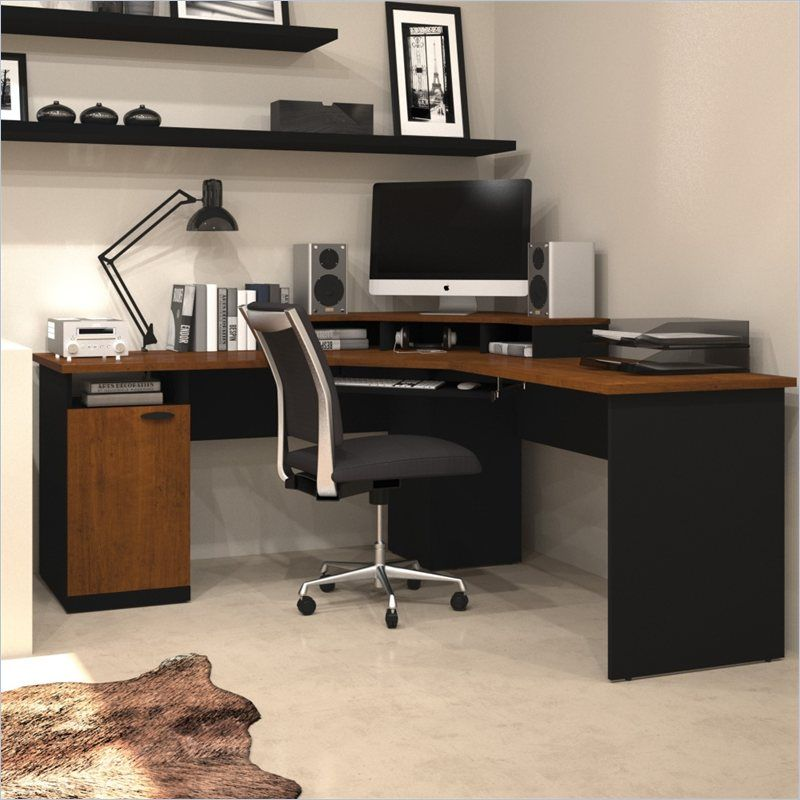 Amazing Bestar Hampton Wood Home Office Corner Computer Desk In Tuscany Brown