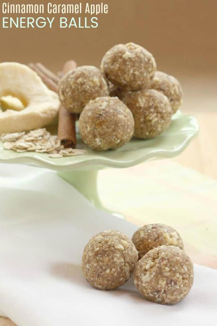 Cinnamon Caramel Apple Energy Balls - a healthy four ingredient lunchbox or after school snack for kids! Allergy-friendly since this energy bites recipe is nut-free, peanut-free, dairy free, gluten free, and vegan.